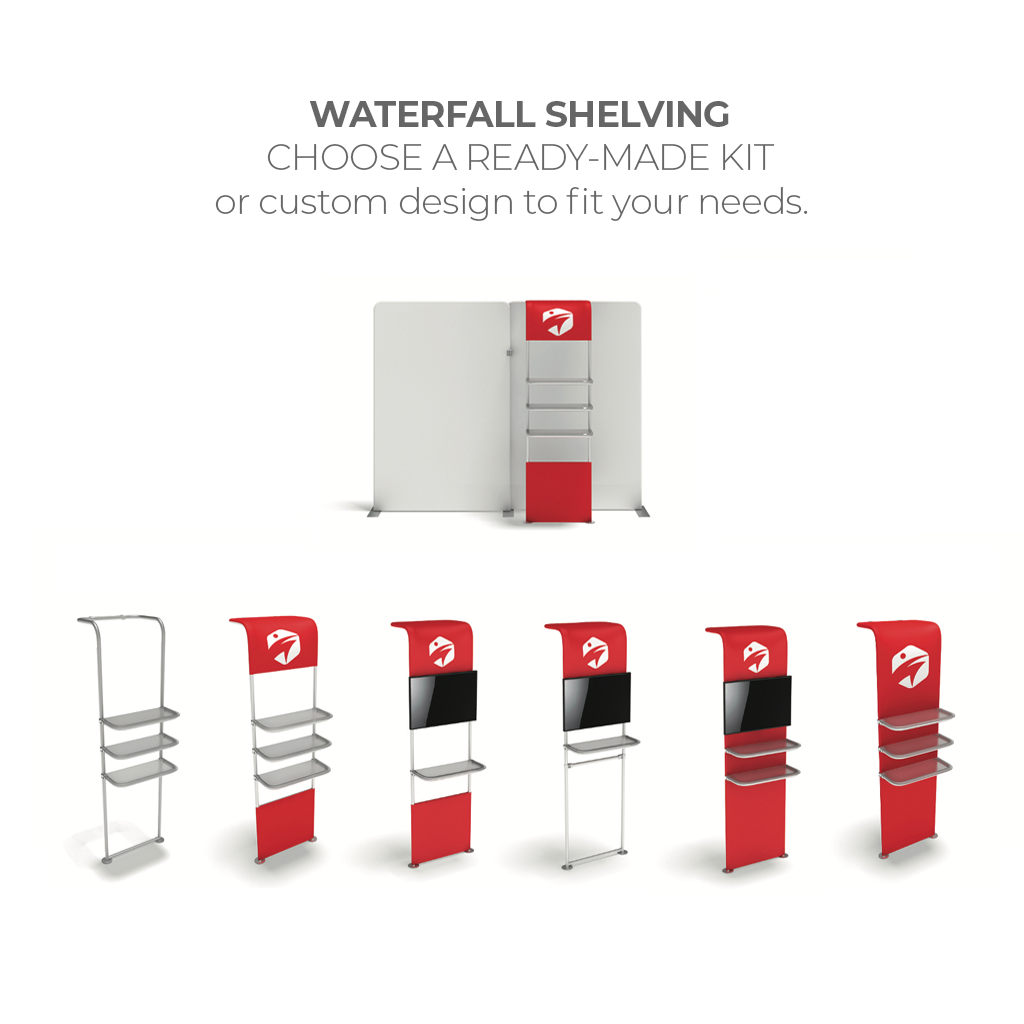 WaveLine® Waterfall Display Shelving for Trade Show Exhibits Design Options