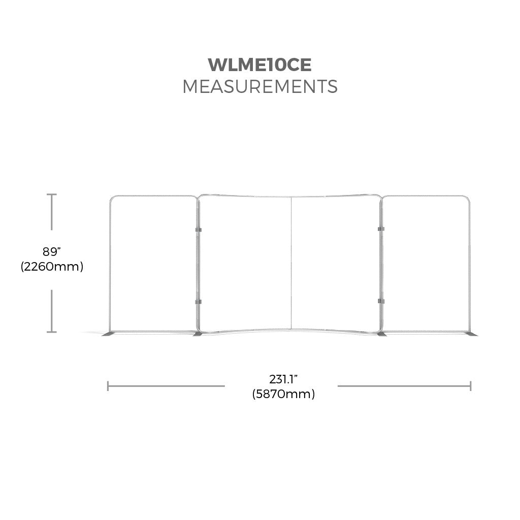 WaveLine Media® Display WLME10CE Tension Fabric Display measurements