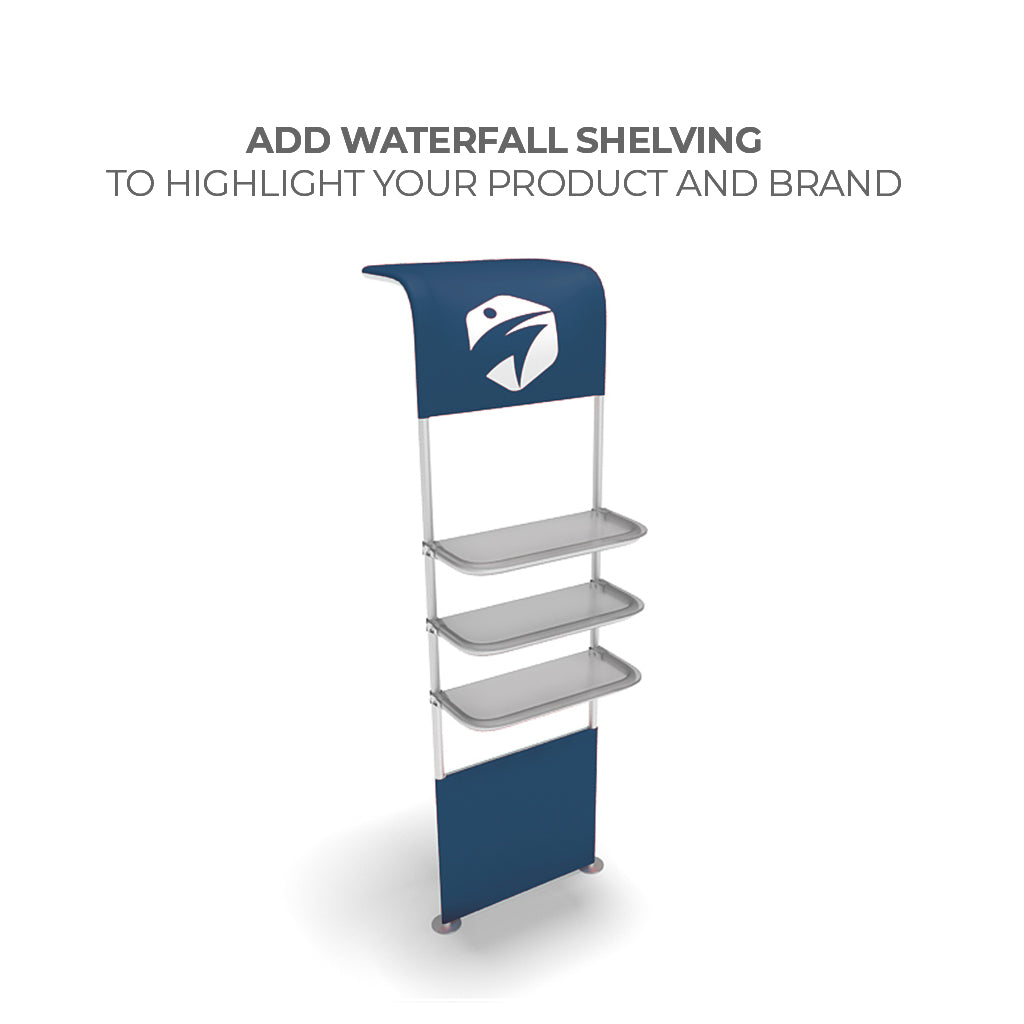 WaveLine Waterfall Shelving System for Trade Shows and Events