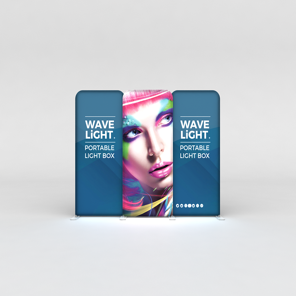 WaveLight® LED Backlit Tension Fabric Display 12ft for Trade Shows and Events - front view