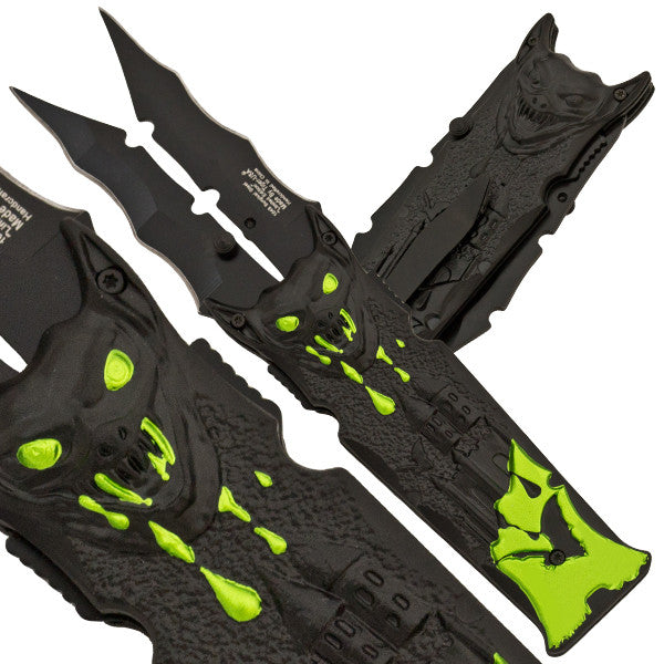 Vampire Zombified Bat Slicer Dual Blade Folding Knife, , Panther Trading Company- Panther Wholesale