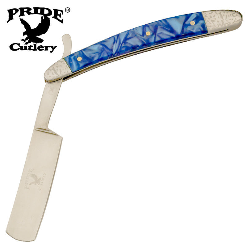 10 Inch Pride Cutlery Straight Razor - Blue Dream, , Panther Trading Company- Panther Wholesale