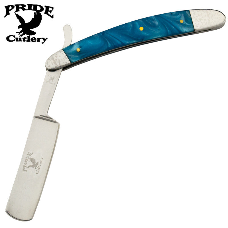 10 Inch Pride Cutlery Straight Razor - Sky Blue Pearl, , Panther Trading Company- Panther Wholesale