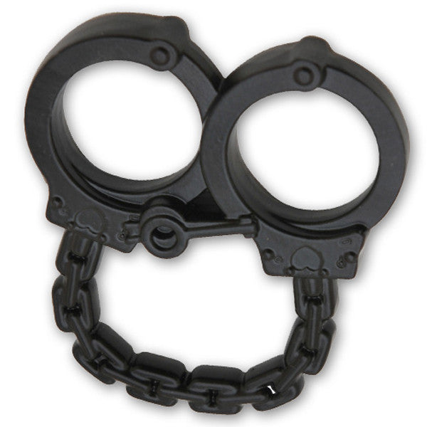 Tiger Tactical Mini Double Finger Belt Buckle/ Paper Weight-Handcuffs - Black, , Panther Trading Company- Panther Wholesale