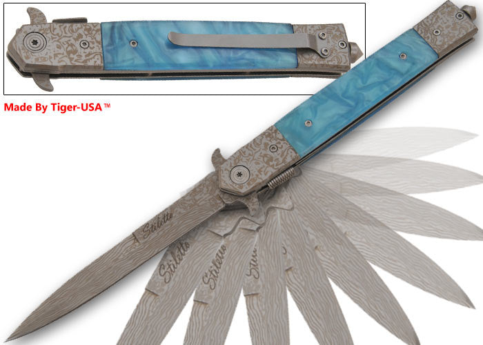 11 Inch Damascus Prince Stiletto Style Knife (Sky Blue), , Panther Trading Company- Panther Wholesale