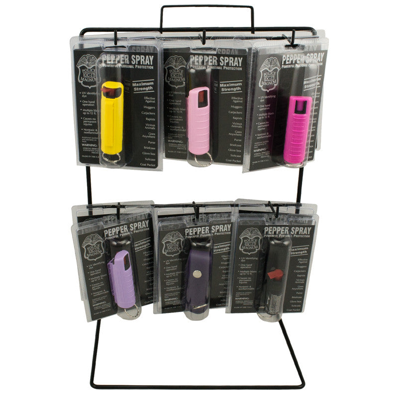 12 PC Pepper Spray Keychain Set with Display