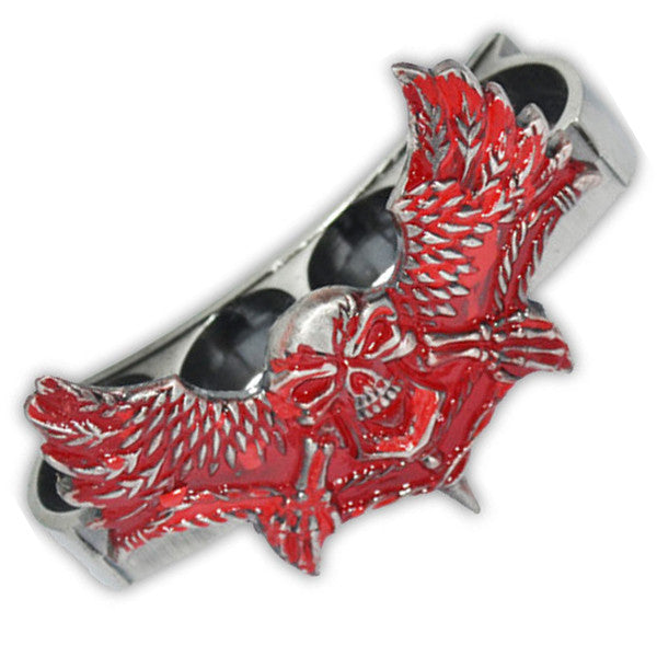 "Red & Silver Winged Skull ""Phantom"" Paper Weights, , Panther Trading Company- Panther Wholesale"