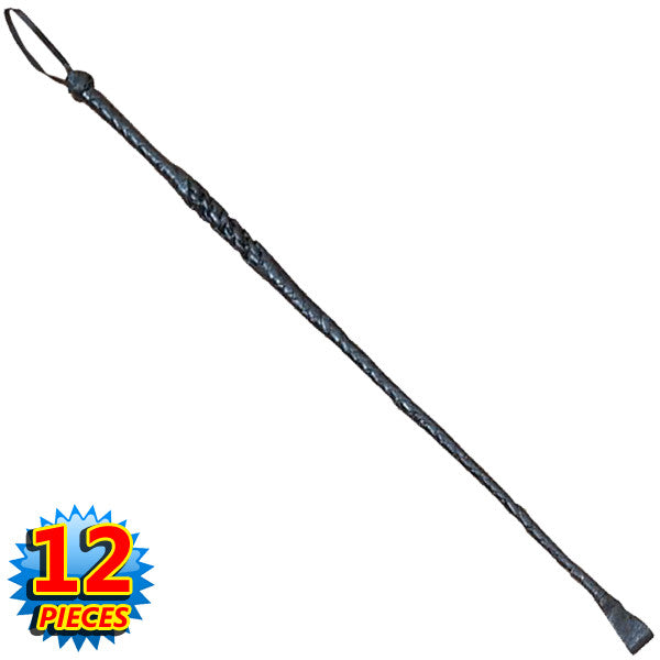 24 Inch Leather Riding Crop Whip (Set of 12)