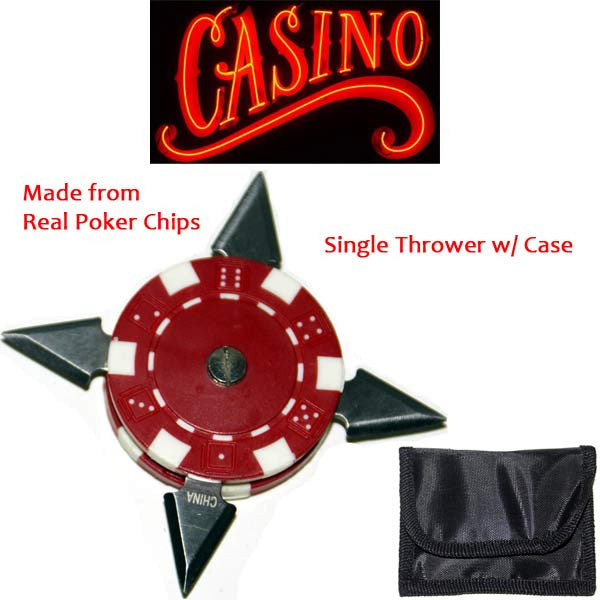 2.5 Inch Casino Poker Chip Throwing Star- Red- With Case, , Panther Trading Company- Panther Wholesale