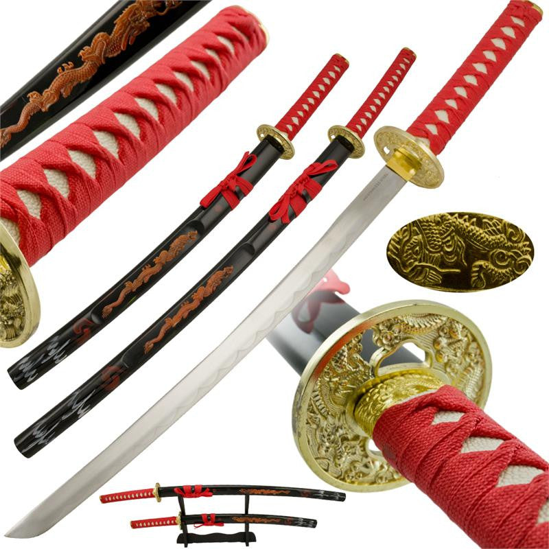 2 PC Dragon Blood Sword Set with Display Stand, , Panther Trading Company- Panther Wholesale