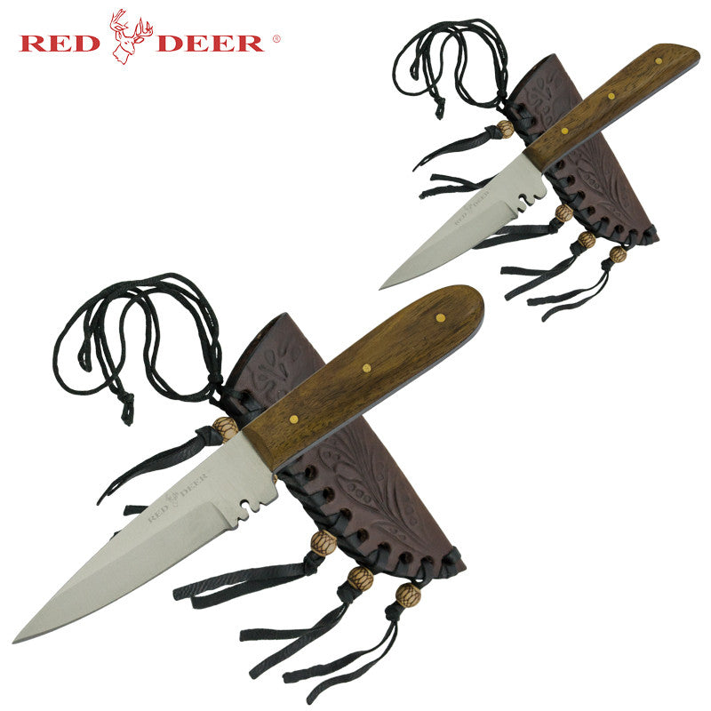 2 PC Red Deer Patch Knife Set with Sheath