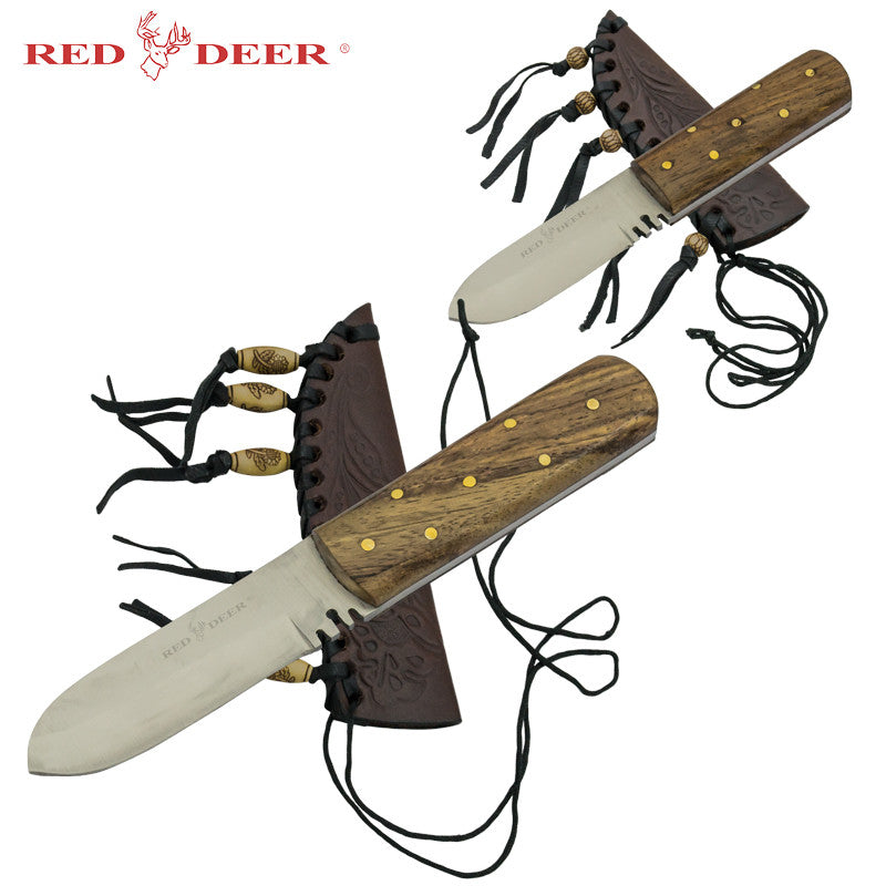 2 Piece Red Deer Patch Knife Set with Sheaths, , Panther Trading Company- Panther Wholesale