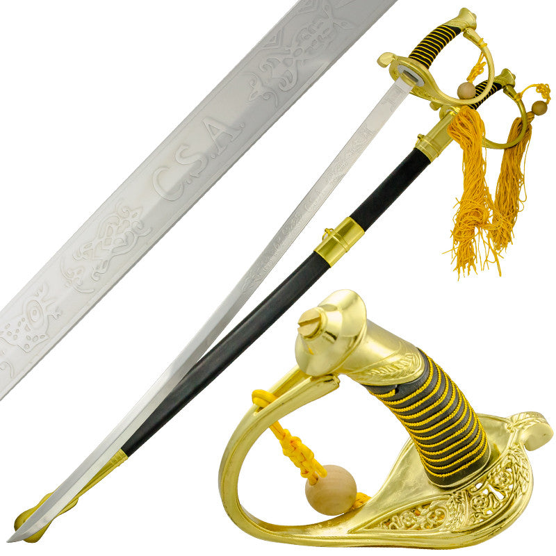 38 Inch CSA Confederate Officer Sword with Black Scabbard, , Panther Trading Company- Panther Wholesale