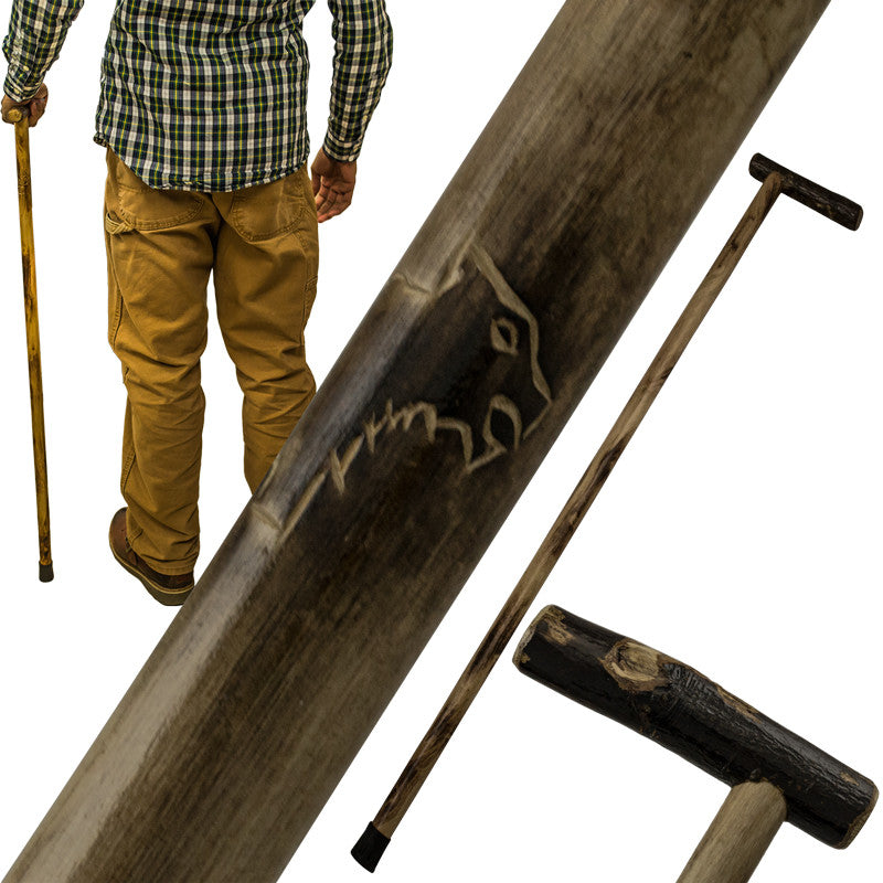 38 Inch Walking Cane Hiking Stick by Red Deer - Bear Carving - Panther Wholesale