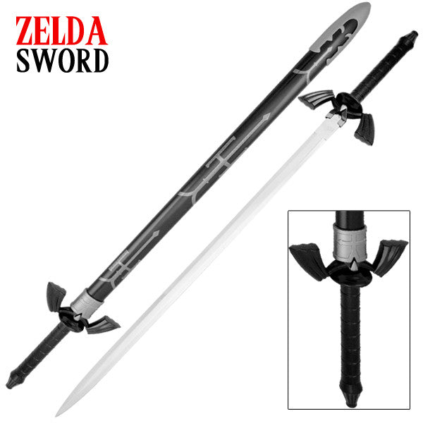 Gamer Black and White Triforce Replica Sword, , Panther Trading Company- Panther Wholesale