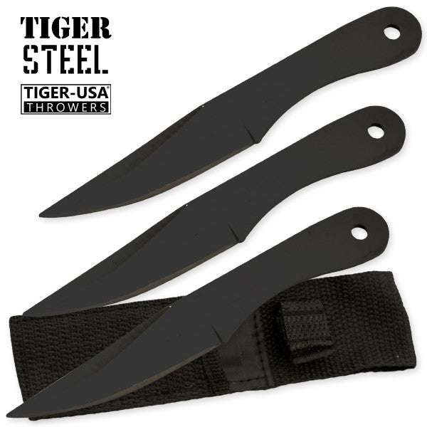 3 PC Black Throwing Knife Set with Sheath, , Panther Trading Company- Panther Wholesale