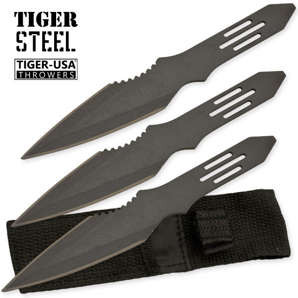 3 PC Black Throwing Knife with Protective Case, , Panther Trading Company- Panther Wholesale
