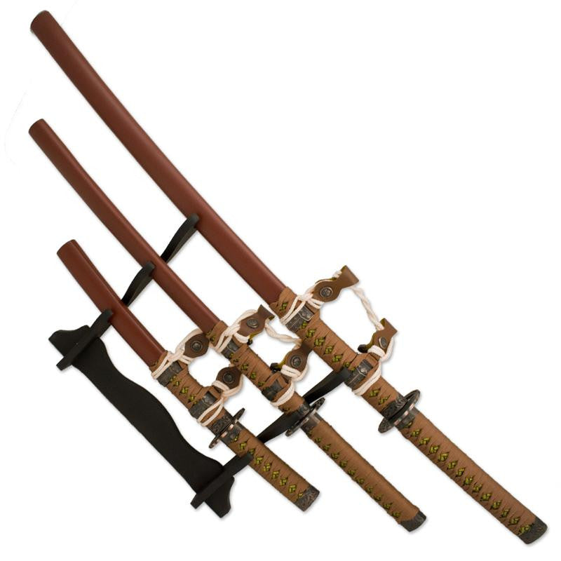 3 PC Brown Chocolate Katana Samurai Sword with Display Stand, , Panther Trading Company- Panther Wholesale