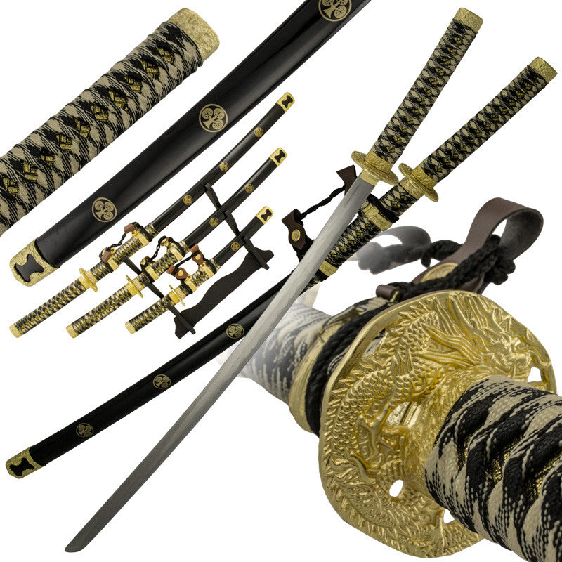 3 PC Gold Rush Katana Sword Set, , Panther Trading Company- Panther Wholesale