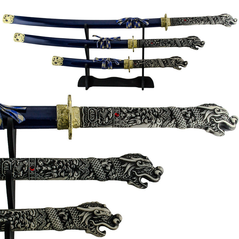 3 PC Samurai Dragon Katana Sword Set with Detailed Dragon Engravings