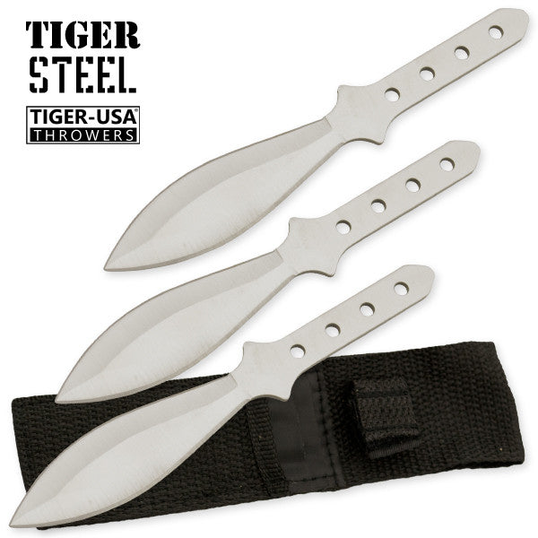 3 PC Silver 440 Stainless Steel Throwing Knife Set