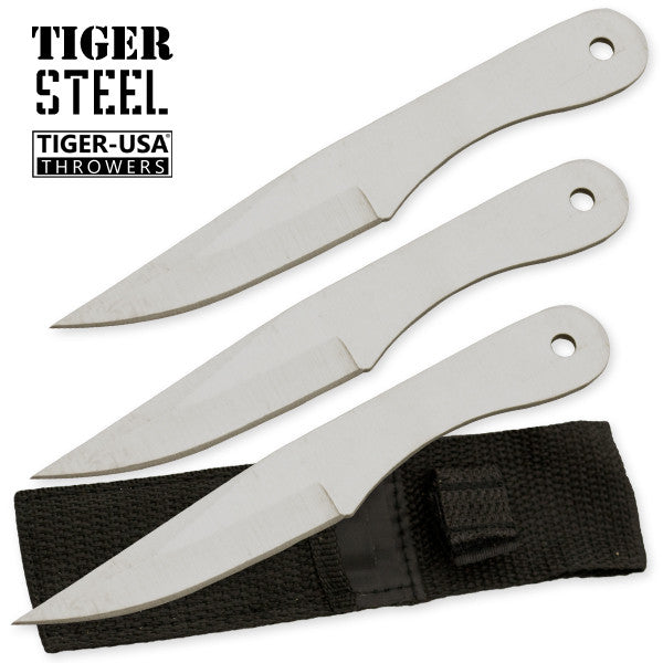 3 PC Silver Throwing Knife Set with Sheath