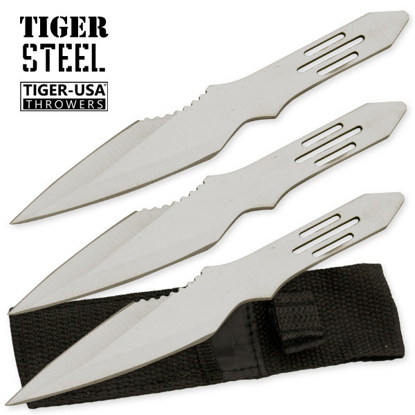 3 PC Silver Throwing Knife with Protective Case, , Panther Trading Company- Panther Wholesale