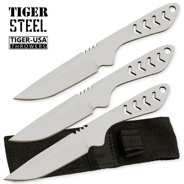 3 PC Silver Tiger Steel 440 Stainless Throwing Knives