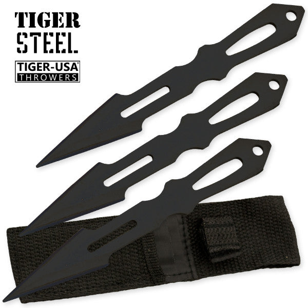 3 PC Tiger Steel Black Throwing Knife Set