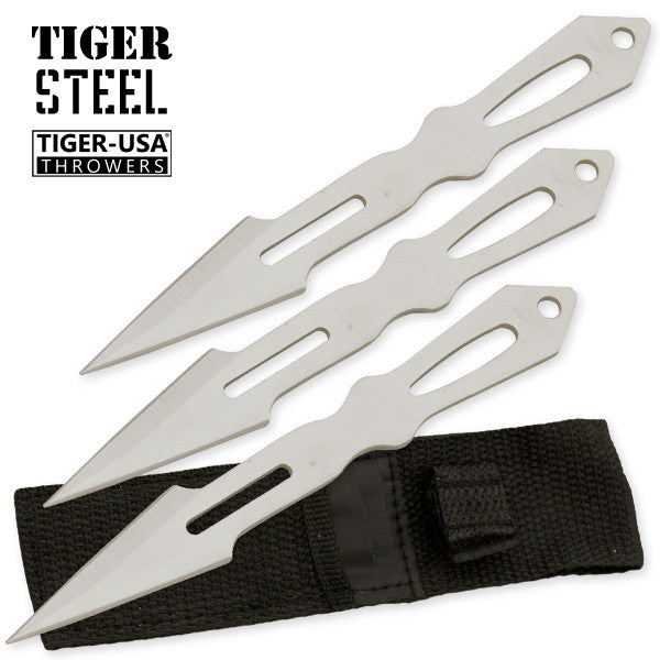 3 PC Tiger Steel Silver Throwing Knife Set