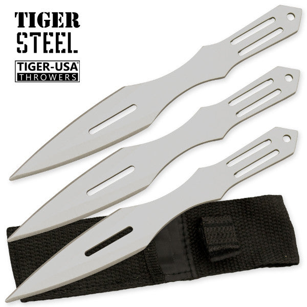 3 PC Tiger Steel Throwing Knife Set - Silver