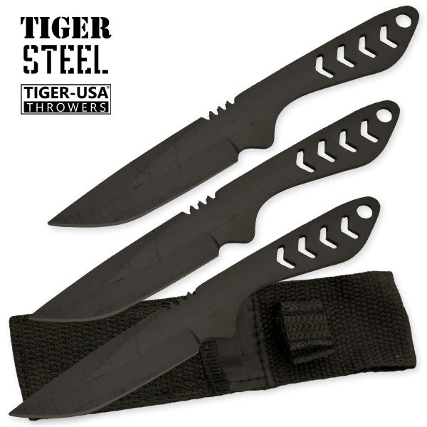 3 PC Tiger Steel Throwing Knife Set, , Panther Trading Company- Panther Wholesale
