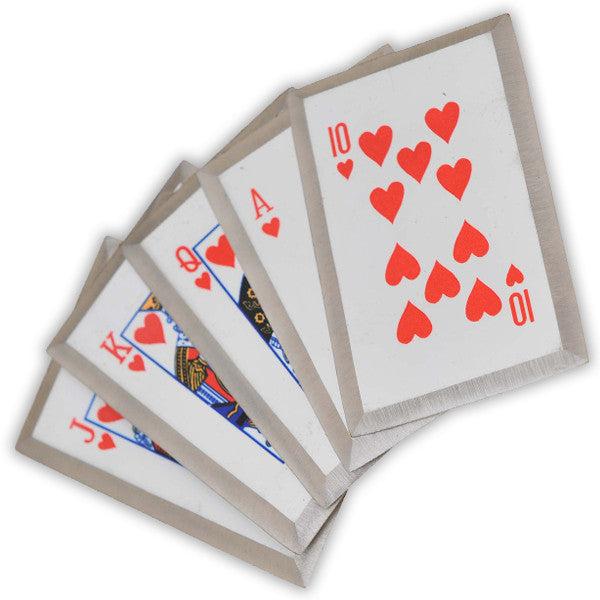 "ROYAL FLUSH- Red 5 piece throwing cards ""Like Throwing Knives"""