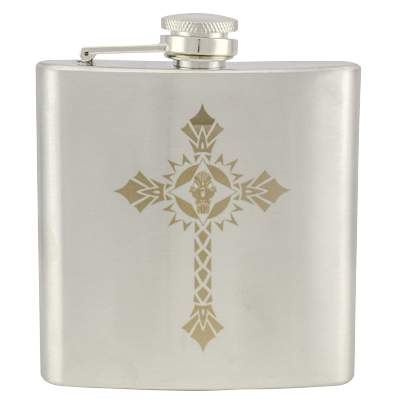 6 oz Stainless Steel Hip Flask - Cross 2, , Panther Trading Company- Panther Wholesale