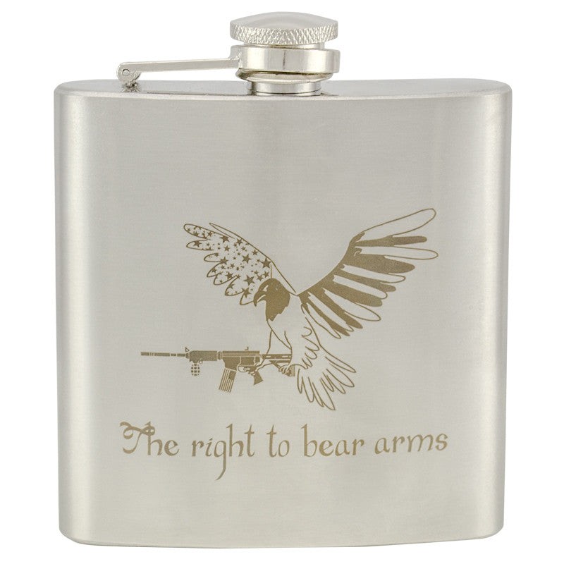 6 oz Stainless Steel Hip Flask - Right To Bear Arms, , Panther Trading Company- Panther Wholesale