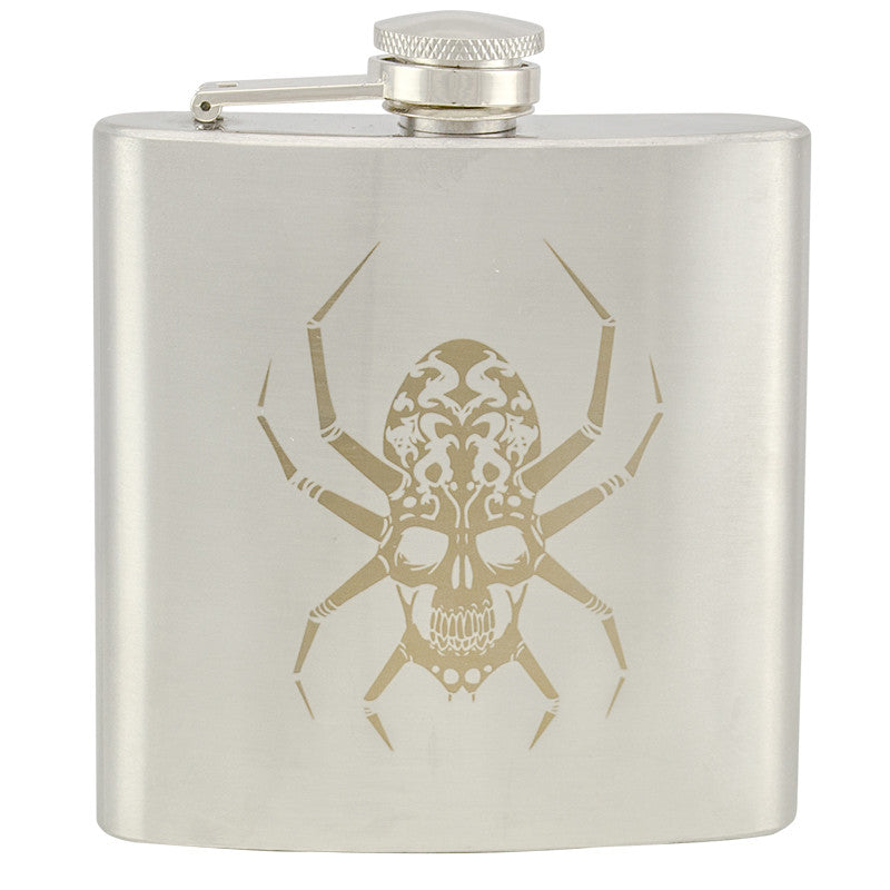 6 oz Stainless Steel Hip Flask - Spider Skull, , Panther Trading Company- Panther Wholesale