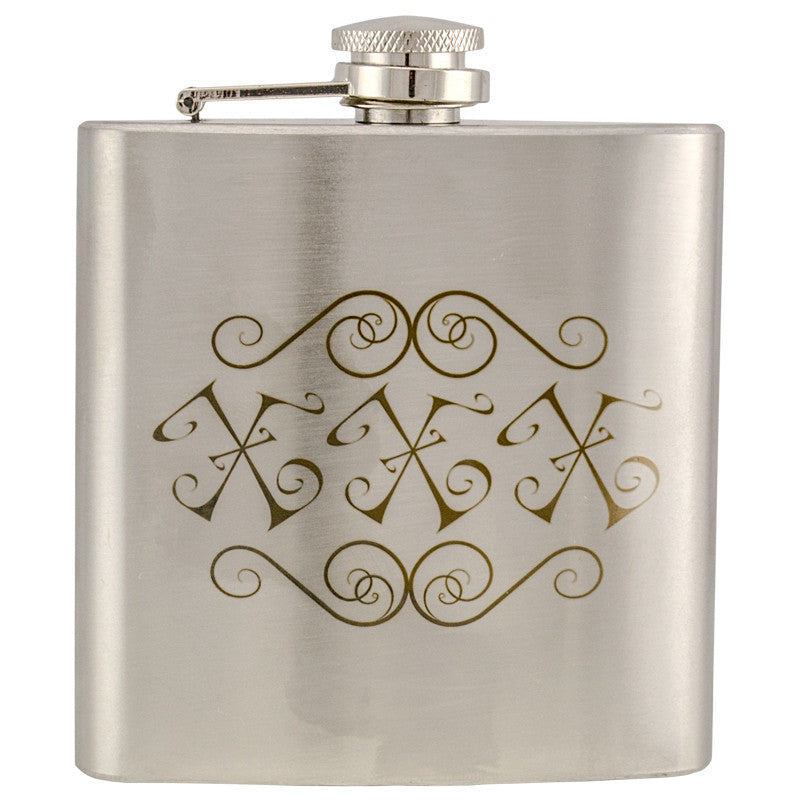 6 oz Stainless Steel Hip Flask - XXX, , Panther Trading Company- Panther Wholesale