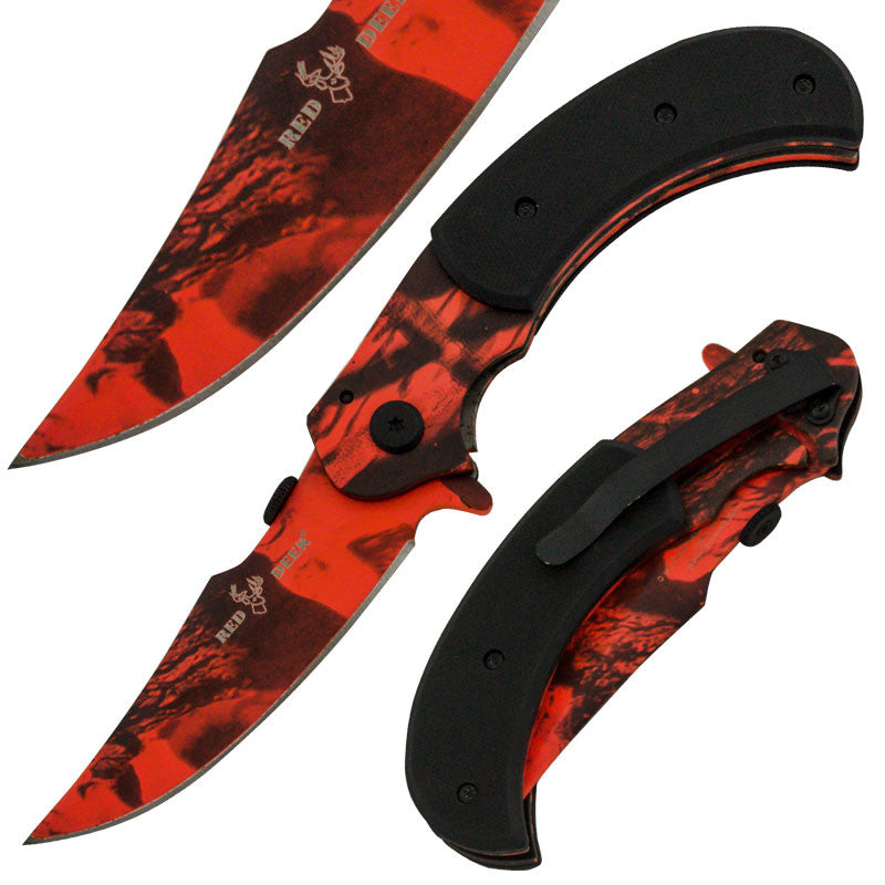 8 Inch Red Deer Trigger Action Outdoor Skinner Knife -Forest Camo, , Panther Trading Company- Panther Wholesale