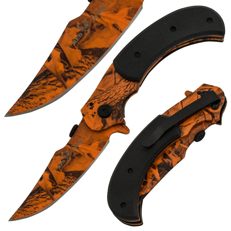 8 Inch Red Deer Trigger Action Outdoor Skinner Knife -Leaf Camo, , Panther Trading Company- Panther Wholesale