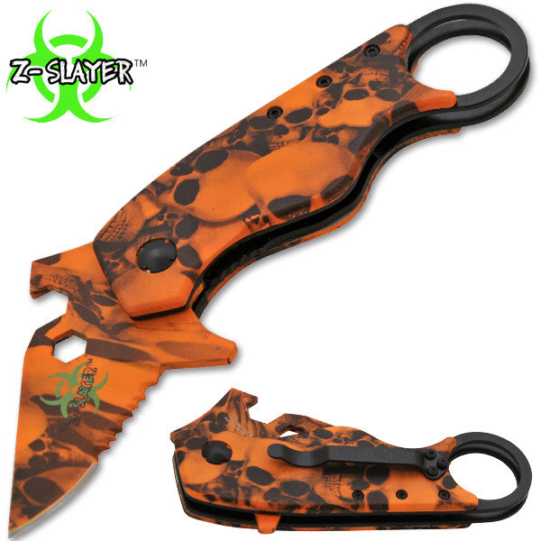 Man Kombat Takedown Tech Trigger Action Knives - Undead Orange Skulls, , Panther Trading Company- Panther Wholesale