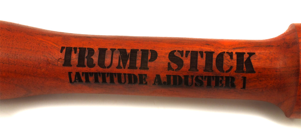 TRUMP STICK [Attitude Adjuster] Wooden Tire Checker with Leather Carrying Strap - Bright Cherry Color