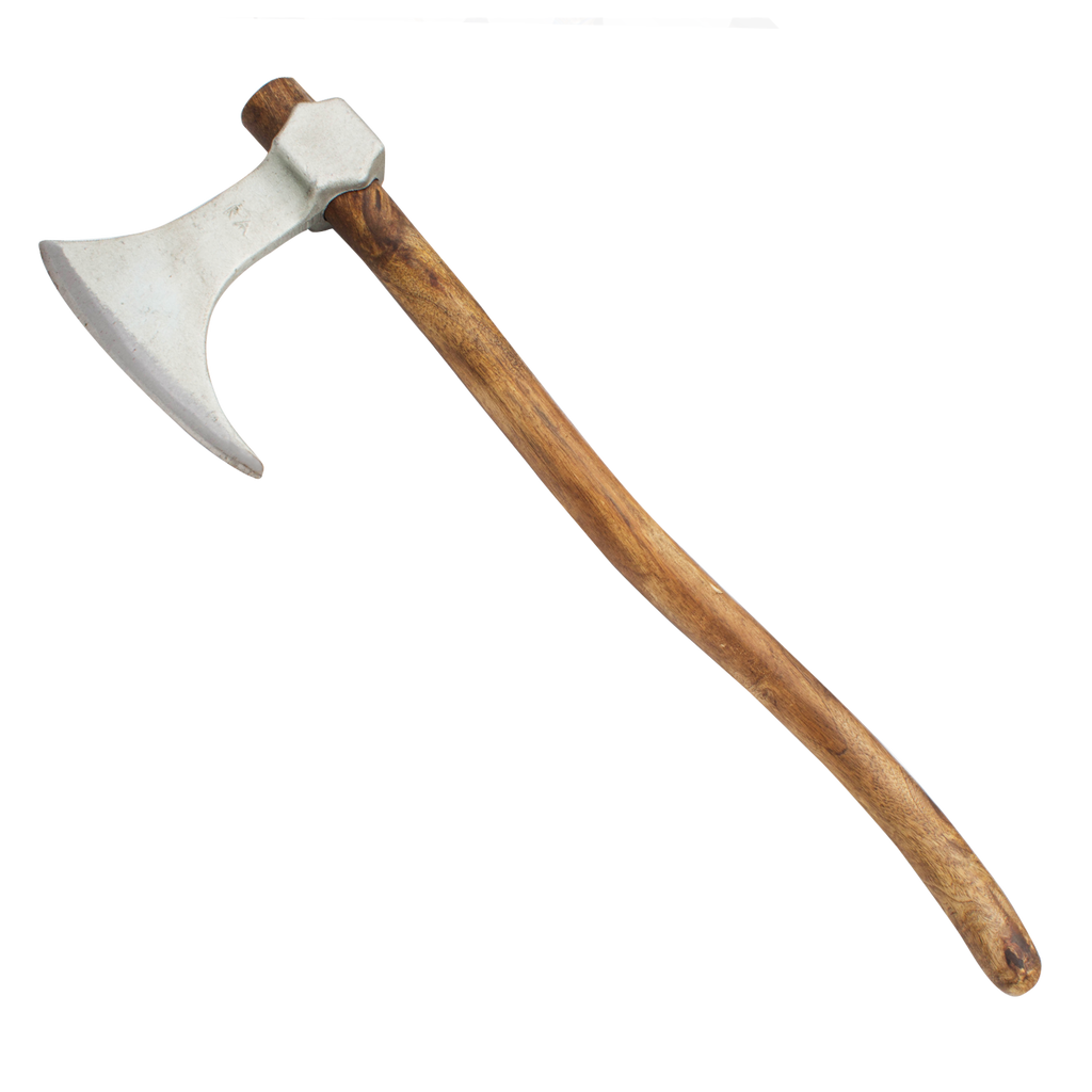 Viking Bearded Carbon Brown Oak Steel Axe  w/ Silver Drop point edge wood handle - Panther Wholesale