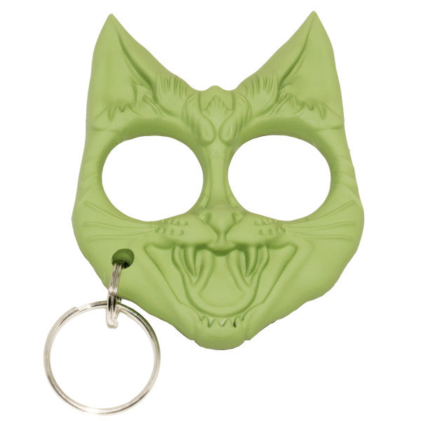 Public Safety Evil Cat Keychain - Green [CLD173], , Panther Trading Company- Panther Wholesale