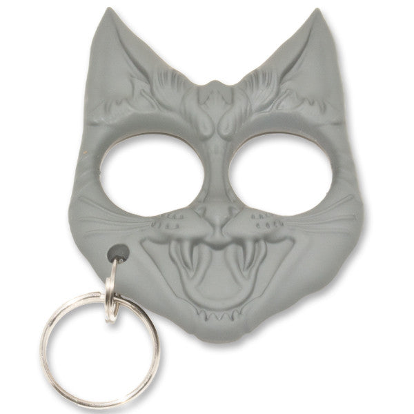 Public Safety Evil Cat Keychain - Grey [CLD170], , Panther Trading Company- Panther Wholesale