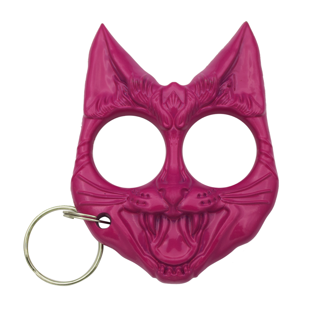 Public Safety Evil Cat Keychain - Pink, , Panther Trading Company- Panther Wholesale
