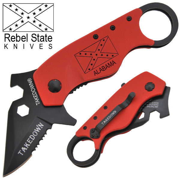 Alabama Rebel State Knives Trigger Action Knife, , Panther Trading Company- Panther Wholesale