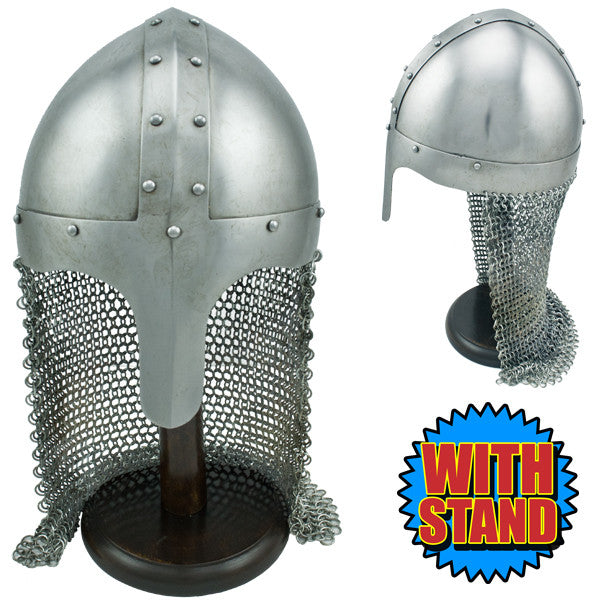 Knights Chain Mail Helmet W/ Stand, , Panther Trading Company- Panther Wholesale