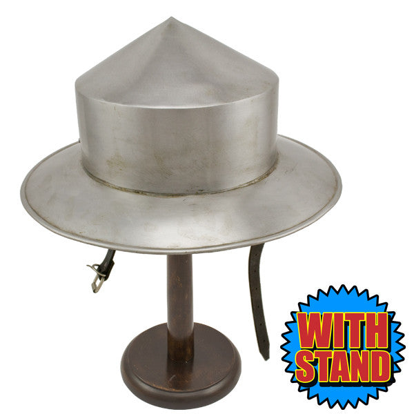 Medieval Silver Kettle Hat Helmet W/ Stand, , Panther Trading Company- Panther Wholesale