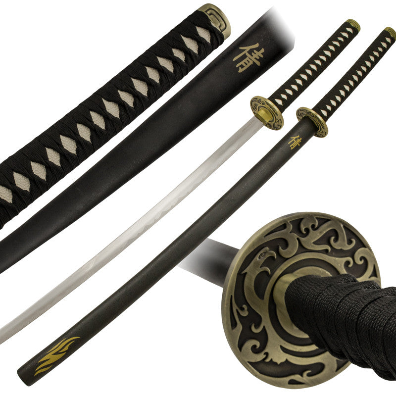 Black Flame Sword Katana Set with Scabbard, , Panther Trading Company- Panther Wholesale