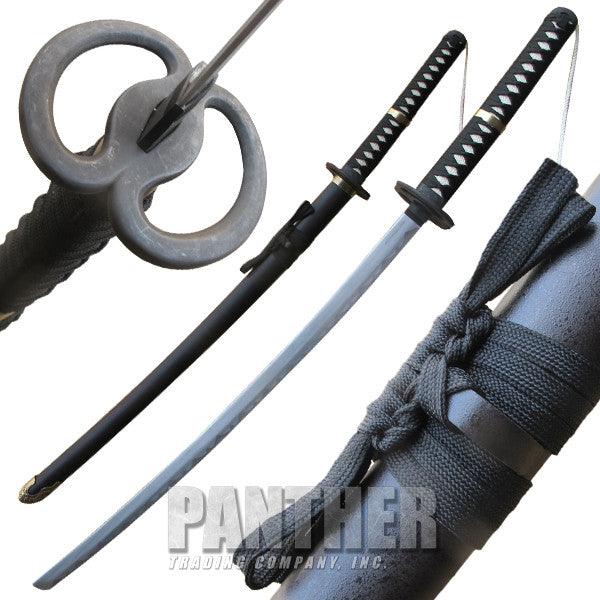 Black Katana Sword Antique Brass Finish Accents, , Panther Trading Company- Panther Wholesale